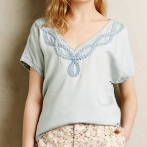 Chambray Anthropologie top