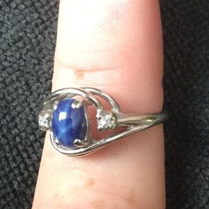 Jewelry - Vintage 10K White Gold Blue Star Sapphire Ring