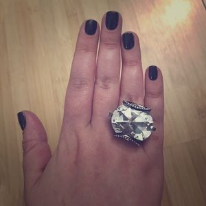 Park Lane Crystal and Hematite Ring, size 7
