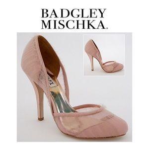 NEW! Badgley Mischka Dusk Tulle Heels, blush, sz 8