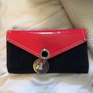 Juicy Couture NAUTICAL wallet RED &blk velvet PICS