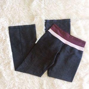 LULULEMON grey+purple boot leg yoga pants