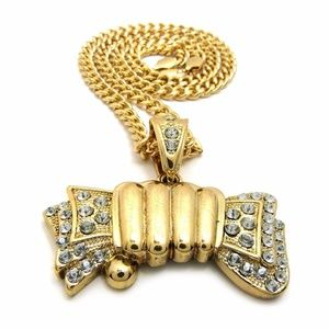 "Other - ICED OUT MONEY GRAB PENDANT & 6mm/24"" CUBAN CHAIN"