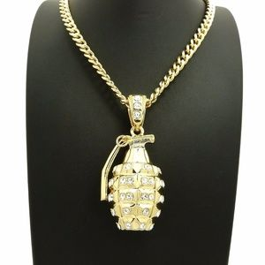 "Other - ICED OUT GRENADE BOOM PENDANT 6mm/24"" CUBAN CHAIN"