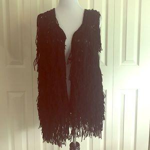 Black Fringe Vest, size medium NWOT