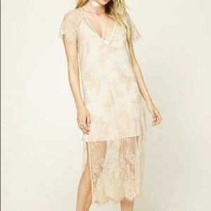 Contemporary Sheer Lace Dress Side Slits Lace Trim