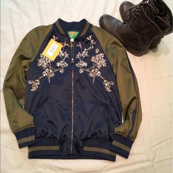 9b33524b4 NWT Groovy Monkey navy & green bomber jacket NWT