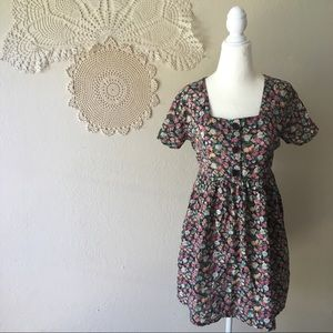 Rampage vintage 90s floral baby doll button dress