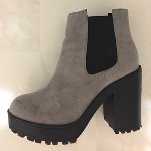 Faux Suede Heeled Chelsea Boots