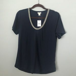 NWT J. Crew Top with Embellished Neckline