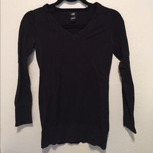 Fine-Knit V-Neck Sweater