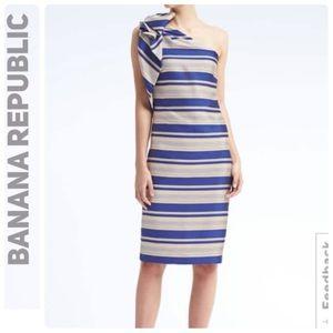 NWT  Banana Republic One Shoulder Bow Dress