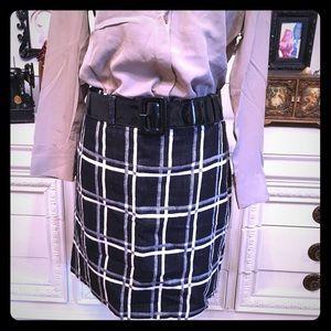 Ann Taylor black and white plaid skirt