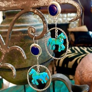 Silver Hand Carved Turquoise Horse Earrings