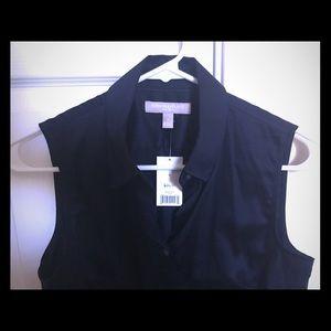 Banana republic non iron sleeveless shirt (navy)