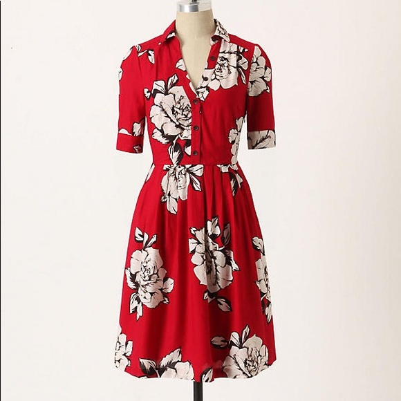 ef16e4c62379 Anthropologie Dresses | Maeve Dagmar Red Floral Shirtdress | Poshmark