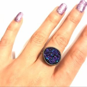 Blue Purple Druzzy Stone Adjustable Silver Ring