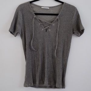 Zara grey lace up vneck shirt