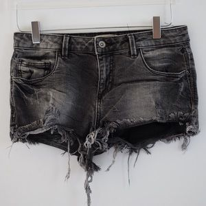Grey black denim cut off shorts from Zara