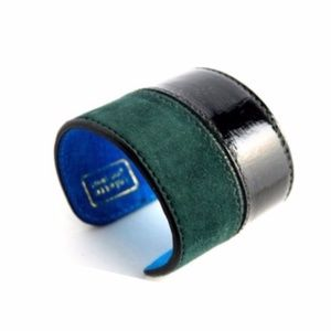 LAST ONE! Green Colette Malouf Leather Metal Cuff