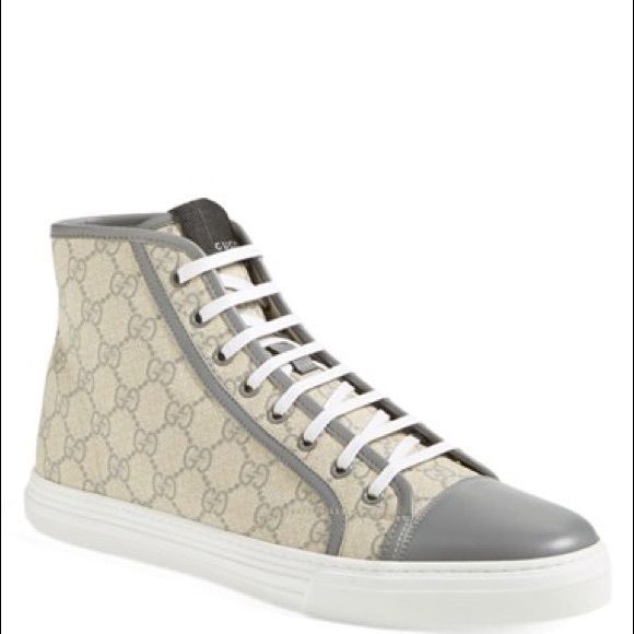 c793039f860c8 Gucci Shoes - Gucci Grey + White Monogram High-Top Sneakers