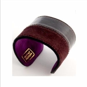 TWO LEFT Eggplant Colete Malouf Leather Metal Cuff