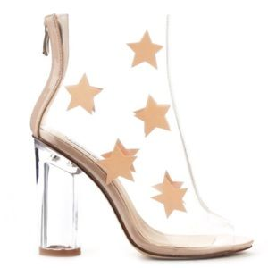 NEW Cape Robbin Clear Star Print Lucite Booties 8