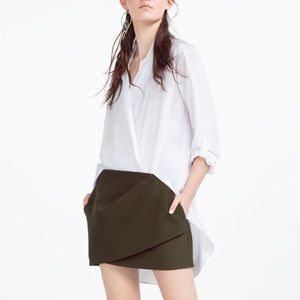 Olive green drape mini skirt from Zara
