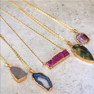 Natural Druzy Stone Pendant Necklaces in Gold