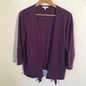 Eileen Fisher purple fly away cardigan.