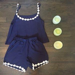 Other - 💥HOST PICK!💥 Navy 2 Piece Lace PJ Romper Set