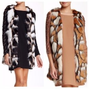 Printed Faux Fur Vest Camel Black Tan White