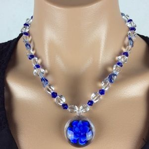 Jewelry - Blue and Clear Glass Necklace