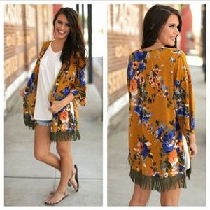 TWO M LEFT! Yellow Floral Kimono with Green Fringe