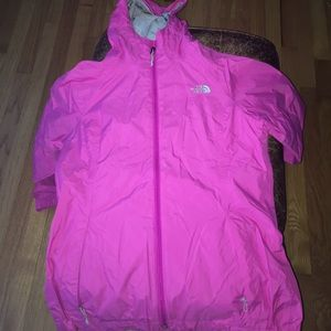 Hot pink north face rain jacket