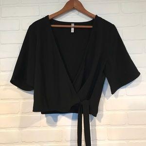 Black short sleeve wrap style crop ballet top M