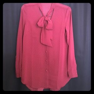 Tops - Burgundy w/polka dots sheer long sleeve top
