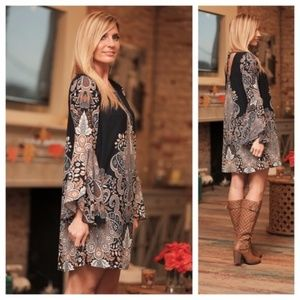 SALE! Navy white brocade boho bell sleeve dress