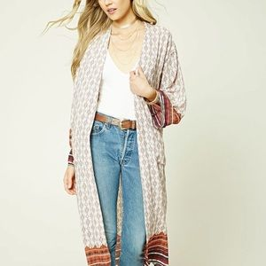 Tops - Long line Kimono Cover Up Cardigan Tribal Print