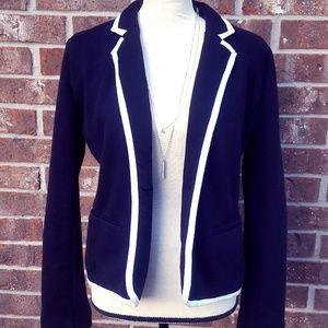 Old Navy Black Blazer White Trim Cotton Blend