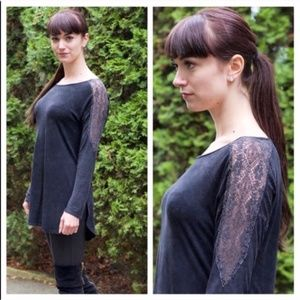 ONE LEFT! Vintage Wash Lace Long Sleeve Gray Top