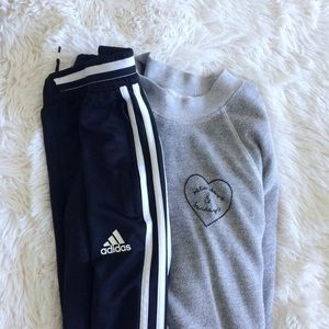 ADIDAS youth black+white striped climacool joggers