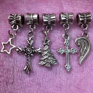 Jewelry - Christmas tree, Angel Wings dangle charm set