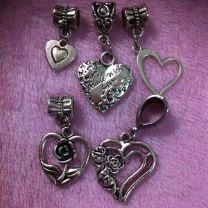 Jewelry - Assorted heart dangle charm fit pandora bracelet