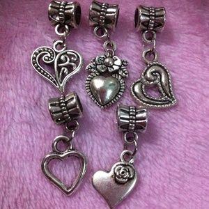 Jewelry - Assorted Tibetan Silver heart Dangle charm a lot
