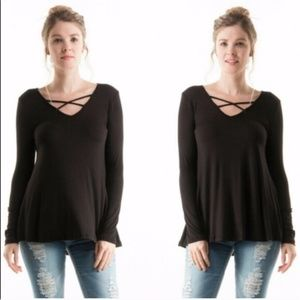 Criss cross front long sleeve top Black