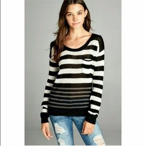 Stripe color block pocket sweater Black White