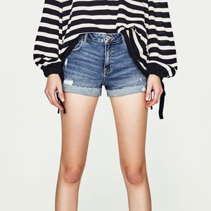 Zara high rise denim shorts TRF