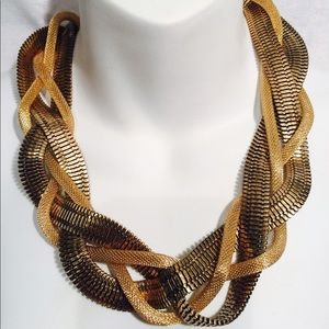Jewelry - Metal Braided Snake Chain Bib Necklace Gold