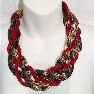 Jewelry - Metal Braided Snake Chain Bib Necklace Red